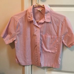 cropped button up pink and white top
